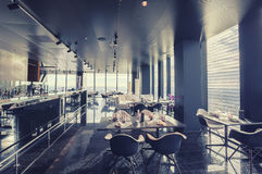 Interior of Vienna contemporary restaurant in sky Stock Photos
