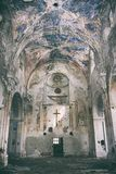 Interior view of abandoned and damaged Church royalty free stock image