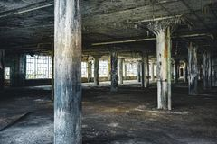 Interior view of the abandoned Fisher Body Plant factory in Detroit. The plant is abandoned and vacant ever since. Photo taken in Detroit royalty free stock images