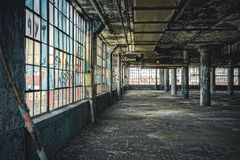 Interior view of the abandoned Fisher Body Plant factory in Detroit. The plant is abandoned and vacant ever since. Photo taken in Detroit stock images