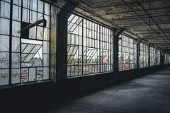 Interior view of the abandoned Fisher Body Plant factory in Detroit. The plant is abandoned and vacant ever since. Photo taken in Detroit stock photography