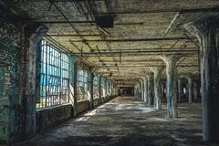 Interior view of the abandoned Fisher Body Plant factory in Detroit. The plant is abandoned and vacant ever since. Photo taken in Detroit stock photo