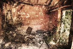Interior view of an abandoned house in hdr Stock Photo