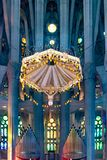 Church of the Sacred Family Interior View. Interior view of altar of famous church sacred family located in barcelona city, Spain royalty free stock photos