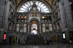 Interior view of Antwerp Central railway station, Belgium Stock Images