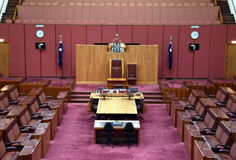 Interior view of the Australian Senate in Parliament House, Canberra Stock Images