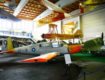 Interior view of The Aviation Museum in Vantaa. VANTAA, FINLAND - JUNE 10, 2015: Interior view of The Aviation Museum in Vantaa. The exhibition presents Stock Image