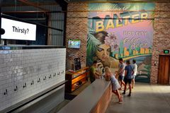 Interior view of Balter microbrewery pub in Currumbin, Australia stock photo
