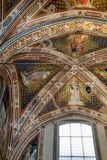Interior view of Basilica De Sante Croce. Florence, Italy, June 11, 2015: Interior view of Basilica De Sante Croce, with amzing artwork, Florence, Italy royalty free stock images