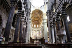 Interior view of Basilica dell'Annunziata Interior of Cattedrale di San Lorenzo (Cathedral of Saint Lawrence). GENOA, ITALY - JULY 14, 2014: Interior of Royalty Free Stock Photos