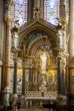 Interior view of Basilica of Notre-Dame de Fourviere Stock Images
