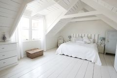 Interior View Of Beautiful Light And Airy Child`s Bedroom stock image