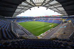 Interior view of Brondby Arena. Copenhagen, Denmark - August 26, 2015: Interior view of Brondby Arena during the UEFA Europa League, first round of the playoffs Stock Image