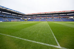 Interior view of Brondby Arena. Copenhagen, Denmark - August 26, 2015: Interior view of Brondby Arena during the UEFA Europa League, first round of the playoffs Stock Photo