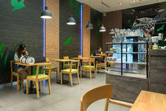 Interior view of Cafe Amazon coffee shop. Stock Images