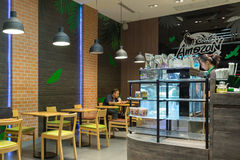 Interior view of Cafe Amazon coffee shop. Royalty Free Stock Photography