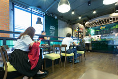 Interior view of Cafe Amazon coffee shop where is a famous franc Royalty Free Stock Photo
