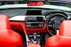 Interior view of car. Modern technology car dashboard, radio and royalty free stock photography