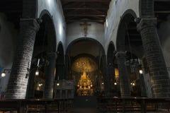 Cathedral of San Giacomo, Bellagio. Interior view of the Cathedral of San Giacomo in the historic center of Bellagio, Lake Como, Italy stock photo