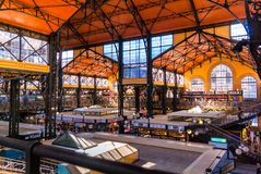 Interior view of the Central Hall Market in Budapest stock image