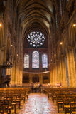 Interior view of Chartres Cathedral. Long exposure image with lot of motion blurred people, France Series Stock Image