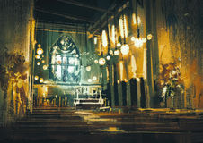 Interior view of a church and dramatic light Royalty Free Stock Photography