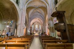 Interior view of the Church of Saint Peter of Montmartre royalty free stock image
