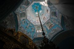 Interior view of Church of Sign of Blessed Virgin in podolsk Dubrovitsy Znamenskaya church, Moscow region, Russia. Interior view of Church of Sign of Blessed stock photography