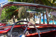Interior view from a classic car in Varadero Cuba with view to the sea Royalty Free Stock Photos
