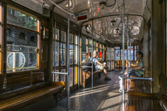 Inside classic tram in Milan, Italy Royalty Free Stock Photos