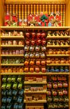 Childrens drinking mugs collection at disneyland hong kong. Interior view with collection of colorful disney theme childrens drinking mugs on display for sale at stock image