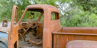 Interior view of a completely ruined vehicle stock photos