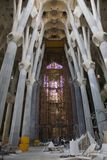 Interior view of construction of Sagrada Familia Holy Family Church by architect Antoni Gaudi, Barcelona, Spain begun in 1882 and. Continuing to be built into Stock Image