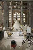 Interior view of construction of Sagrada Familia Holy Family Church by architect Antoni Gaudi, Barcelona, Spain begun in 1882 and. Continuing to be built into Royalty Free Stock Photos