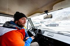 Interior view of delivery man driving a van or truck. Delivery logistics Royalty Free Stock Images