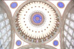 Interior view of the dome of Mihrimah Mosque in Istanbul. Interior view of the splendid dome of Mihrimah Mosque next to Edirnekapi in modern Istanbul royalty free stock photos