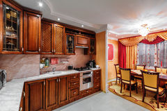 Interior view of elegant custom-built kitchen Stock Photo
