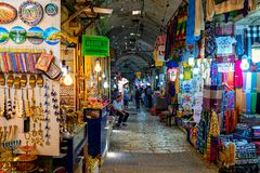 Interior view of famous bazaar in Old City of Jerusalem. Stock Photography