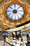Interior view of the famous Galeries Lafayette with its brand stand Chanel Royalty Free Stock Photography