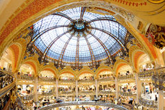 Interior view of the famous Galeries Lafayette with its brand stand Chanel Stock Photography