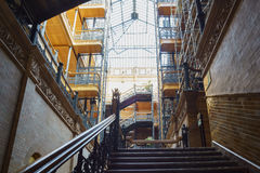 Interior view of the famous and historical bradbury building. Los Angeles , APR 11: Interior view of the famous and historical bradbury building on APR 11, 2017 stock photos