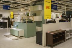 Interior view of the famous IKEA furniture stores. Los Angeles, DEC 28: Interior view of the famous IKEA furniture stores on DEC 28, 2017 at Los Angeles Stock Image
