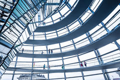 Interior view of famous Reichstag Dome in Berlin, Germany. Royalty Free Stock Images