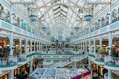 Interior view of the famous Stephen\'s Green Shopping Centre. Dublin, OCT 28: Interior view of the famous Stephen\'s Green Shopping Centre on OCT 28, 2018 at royalty free stock photography