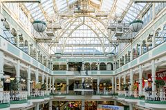 Interior view of the famous Stephen\'s Green Shopping Centre. Dublin, OCT 28: Interior view of the famous Stephen\'s Green Shopping Centre on OCT 28, 2018 at royalty free stock photo