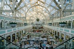 Interior view of the famous Stephen\'s Green Shopping Centre. Dublin, OCT 28: Interior view of the famous Stephen\'s Green Shopping Centre on OCT 28, 2018 at stock image