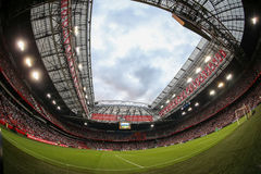 Interior view of the full Amsterdam Arena Stadium. Amsterdam, Netherlands- July 26, 2016: Interior view of the full Amsterdam Arena Stadium during the UEFA royalty free stock photo