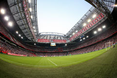 Interior view of the full Amsterdam Arena Stadium. Amsterdam, Netherlands- July 26, 2016: Interior view of the full Amsterdam Arena Stadium during the UEFA stock photography