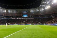 Interior view of the full BayArena Stadium during the UEFA Champ Royalty Free Stock Image