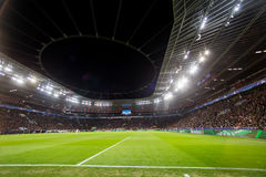 Interior view of the full BayArena Stadium during the UEFA Champ Royalty Free Stock Photos